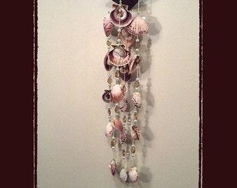 Sea Shell Wind Chime/Suncatcher 33 Calico Pectens Nauticas Faux Pearls & 16 Topaz Crystal Beads, Beach Theme, Coastal Theme, Nautical Theme