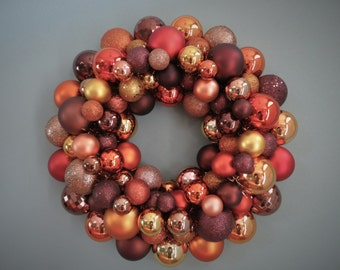 AUTUMN Wreath BROWN, Copper, Gold, Orange Ornament Wreath Fall Wreath