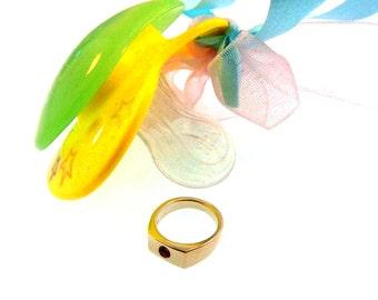 14k Yellow Gold or 14k White Gold Newborn Baby Birthday Gift Ring with Birthstone Center
