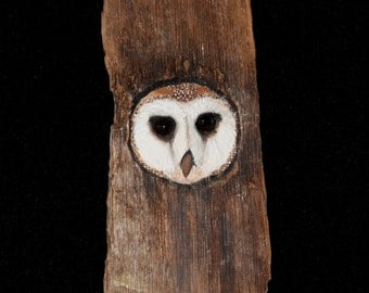 Owl Bird Sculpture - Barn Owl Art - OOAK - Hand Carved and Sculpted in Maple