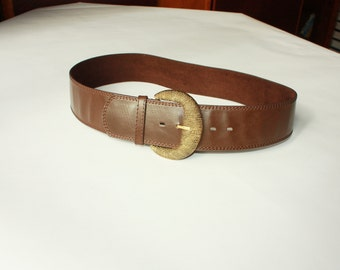 Brown Vintage PU Belt with Metal Buckle - ... a Fashionista Statement Piece can fit for Size M and L