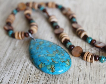 Mosaic Turquoise Teardrop Pendant, Mother of Pearl Shell, and Wood Necklace / Turquoise Necklace / Gifts for Her / Big Necklace / Boho