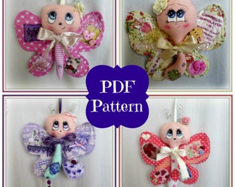 PDF Sewing Pattern Crazy Quilted Butterfly Hanging Decoration Ornament