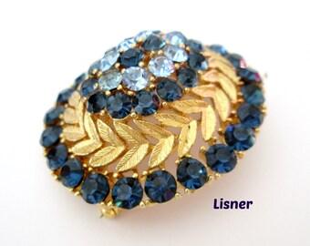 Yellow Gold Blue Rhinestone Brooch 1960s Large Statement Lisner Pin