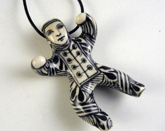 Porcelain doll pendant, black and white,little doll,necklace