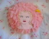 Handmade, embroidered face pillow case and pillow, 1920s  blue eyed girl w marcelled hair and ruffles