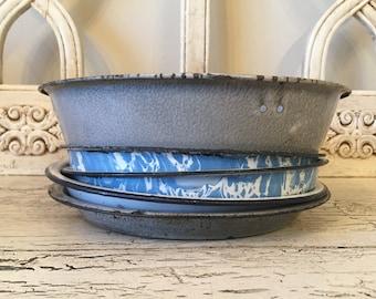 Lot of Vintage Enamelware and Graniteware Pie Plates - 5 Rustic Farmhouse Pie Plates