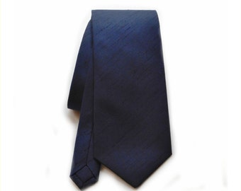 Navy blue shantung silk neck tie. Slub textured necktie dark blue skinny or standard made to order