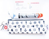 Single EpiPen Case / Insulin Pen Pouch with Medical ID Card - Nautical Synbols Oilcloth (Vinyl-Coated)