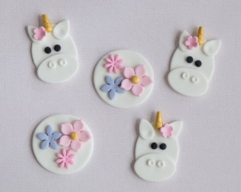 Fondant Unicorn and Flower Toppers for Cupcakes, Cookies or Brownies
