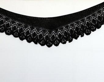 Black shawl Spring Hand Knit  Shawl  Knitted Lace Shawl  Wraparound Shawl crochet shawl