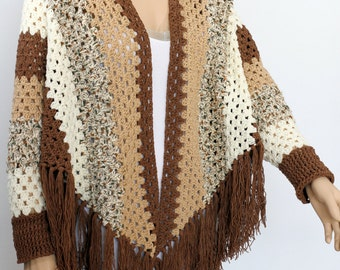 Crochet poncho,  sleeved poncho, poncho cape, Shawl poncho, Women's Pullover Sweater, Fringed Shawl