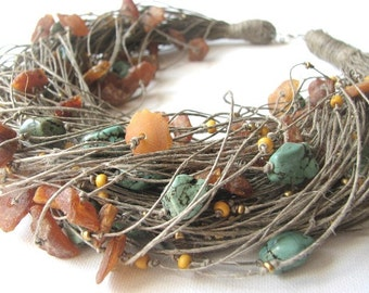 Amber & Turquoise net - linen necklace