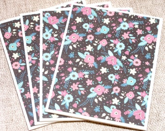 Flower Print Note Cards- Floral Note Card Set- Set of 4- Flower Thank You Cards- Blank Note Cards