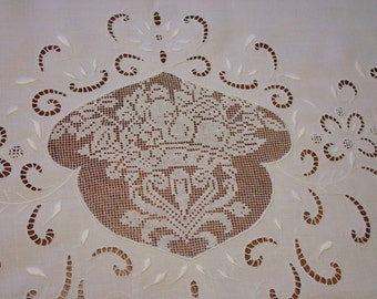 """Unusual Antique Tablecloth, Handmade Lace,Embroidery,Cutwork, 37 1/2 x 62"""""""