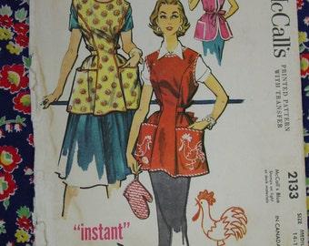 Vintage Pattern c.1957 McCall's No.2133 Instant Cobbler Apron Size Medium 14-16