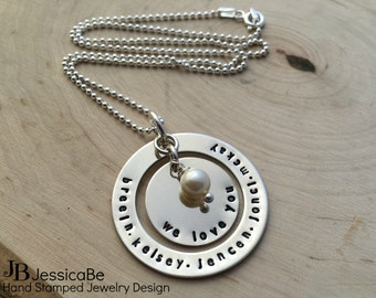 Grandma Gift ~ Hand Stamped Necklace ~ Mother Necklace ~ Personalized Necklace ~ Grandmother Necklace ~ Grandkid's Names ~ JessicaBe
