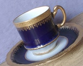 Antique Theodore Haviland Limoges teacup and saucer, Flow Blue tea cup, Demitasse tea cup, Antique teacup, blue and gold French china teacup