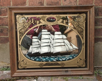 Vintage Cutty Sark Mirror framed, Whiskey Bar Sign, British Clipper ship 1869, Barware, Sailing ship decor, Nautical gift for dad