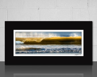 ocean wave photography art panoramic matted print blue yellow beach house wall art fits 10x20 inch frame