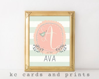 Baby Name Art - Ava Name Print - Custom Name Art Print - Nursery Printable - Nursery Monogram
