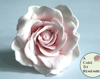One large colored gumpaste rose, edible flower for cakes. Sugar rose for cake decorating or wedding cake topper, sugar flowers .