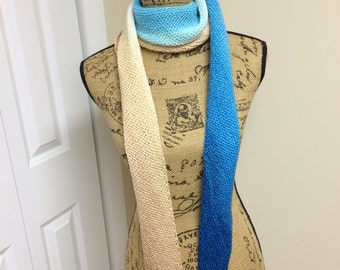 Scarf, Knit scarf, Multi-colored scarf, Hand Knit Scarf, Light-Weight Scarf, Wool Scarf, Womens Gift, Gradient Scarf