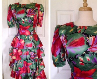 70s/80s watercolor print party dress / bintage ruffle skirt dress
