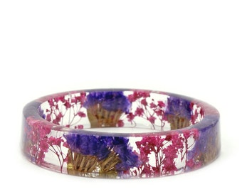 Bracelet -Flower Jewelry- Real Flower Bangle- Real Flower Resin Jewelry - Jewelry made with Flowers- Purple Flower Bracelet