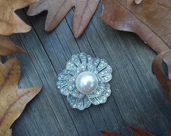 Antique Pearl and rhinestone Brooch