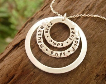 Hand Stamped Sterling Silver Triple Washer Necklace with Kids Names