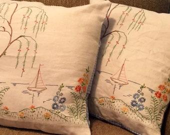 Embroidered Sailboat Coastal Scene Pillow Cover