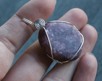 Lepidolite Sterling Silver Wire Wrap Pendant #6837