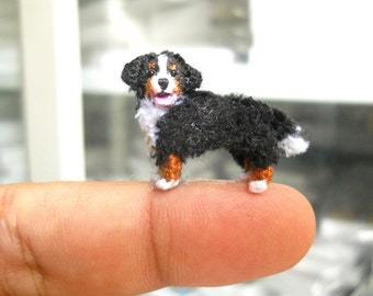 Bernese Mountain Dog - Micro Crochet Miniature Dog Stuffed Animals - Made To Order