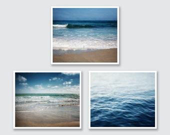 Vibrant Blue Beach Decor, Beach Print or Canvas Art, Ocean Art Set of 3 Landscape Photographs, Royal Navy Blue, Bright Blue Beach Decor Set.