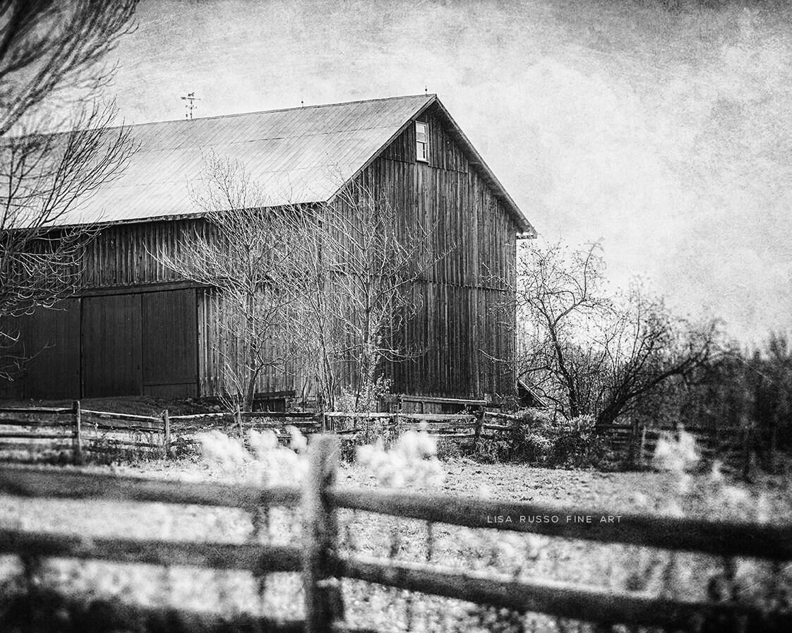 Black And White Barn Landscape Barn Art Print By