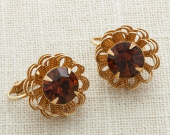 Gold and Brown Rhinestone Earrings Clip on Flower Floral | Clip On Earings | Costume Jewelry | True Vintage 16A