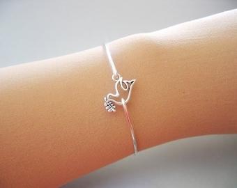 DOVE with BRANCH bangle bracelet