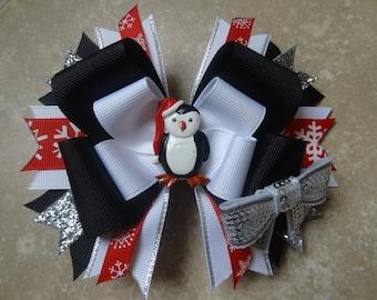 Santa Penguin bow, Christmas hairbow