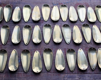 "36 Brass Fishing Lure Spoons 2 1/4"" Long ~ Supplies Lot for Art & Jewelry ~ Assemblage ~ Altered ~ Steampunk ~ Mixed Media ~"