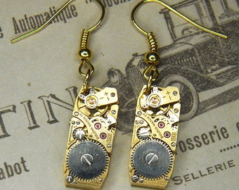Steampunk Earrings - Vintage Gold ART DECO Shaped BULOVA Watch Movements - Bright, Bold & Ultra Elegant