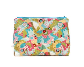 Large Blue Spring Paisley Flower Padded Zipper Storage Pouch S117