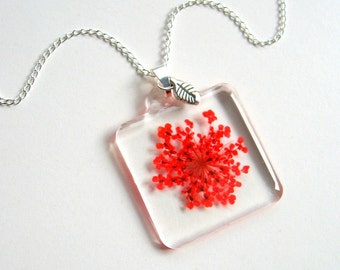 Red Queen Anne's Lace - Real Flower Garden Necklace - botanic jewelry, pressed flower, red, leaf, Summer necklace, flower jewelry, eco, ooak