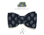 Men's bow tie / gorgeous midnight blue cotton fabric - adjustable self tie - just bow ties for him, handmade by Bagzetoile