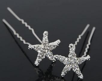 Beach wedding hair clips starfish pair of 2 women's hair accessory beach bride sea life updo hairstyle starfish clips/pins