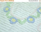 ON SALE Vintage Chenille Baby Blankets - Chenille Crib Blanket - Pink White Blue Chenille