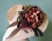 Jumbo brown peony feather hair clip,  wedding, performance, belly dance, festival,party