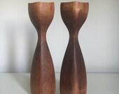 Midcentury Modern Turned Wood Candle Holders Pair