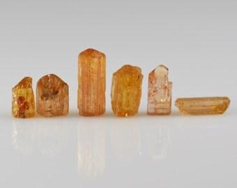 Imperial Topaz Crystals Six Precious Topaz Natural Crystals