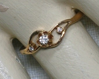 Soviet Diamond RIng. 583 Rose Gold, Dainty & Bright. Made in the USSR